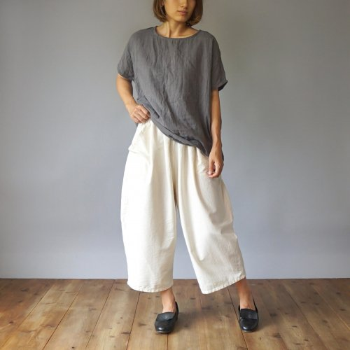 『夏の福袋』 ゆったりガーゼTシャツ/グレー + バルーンパンツ8分丈/生成り