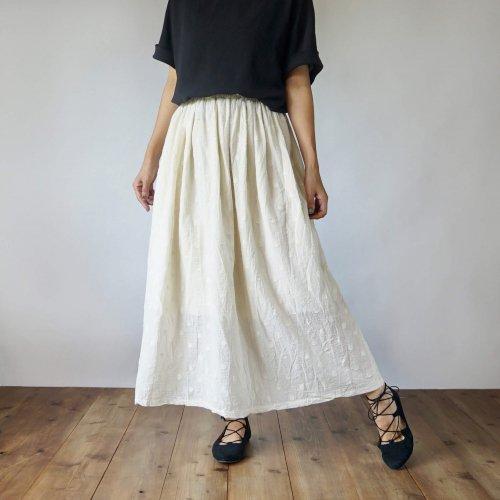 サマーマキシスカート/ドット生成り/遠州織物
