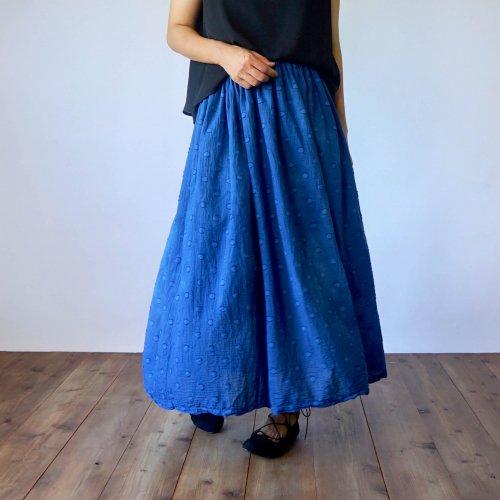 サマーマキシスカート/ドットインディゴ/遠州織物