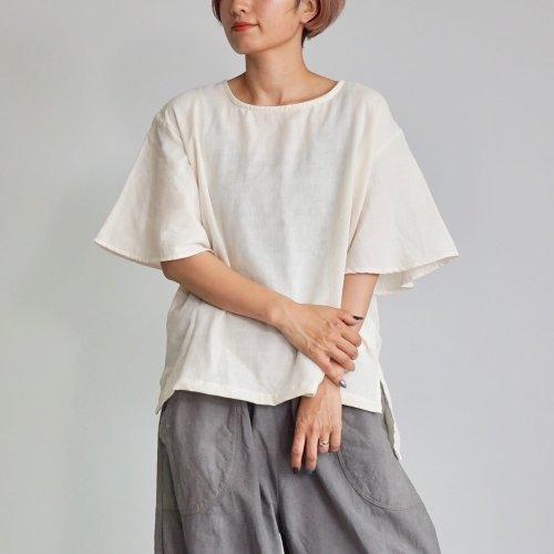 フレアスリーブ ガーゼTシャツ/小粒柄生成り/三河織物ダブルガーゼ
