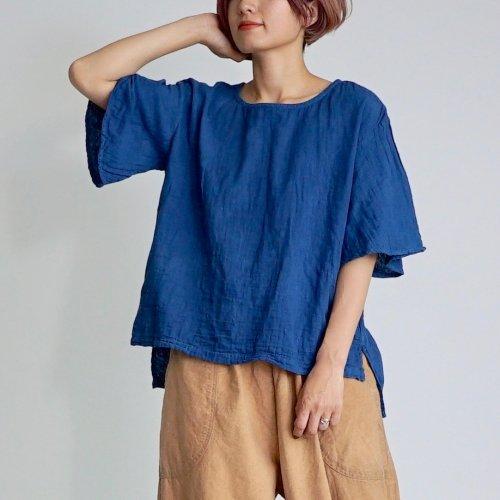 フレアスリーブ ガーゼTシャツ/小粒柄ブルー/三河織物ダブルガーゼ