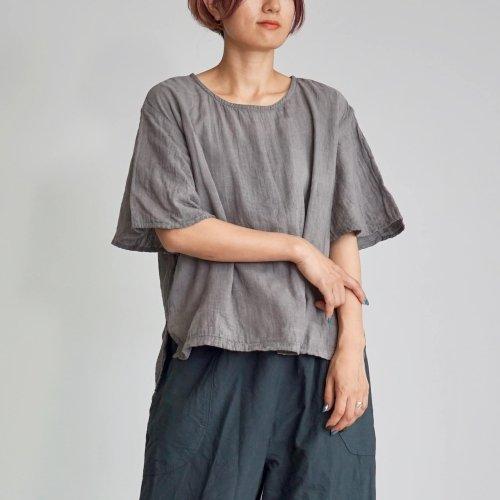 フレアスリーブ ガーゼTシャツ/小粒柄グレー/三河織物ダブルガーゼ