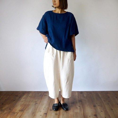 『夏の福袋』フレアスリーブ ガーゼTシャツ/小粒柄ブルー + バルーンパンツ8分丈/生成り