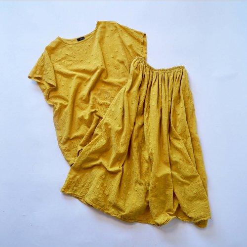 『夏の福袋』ワンピース風セパレートセットアップ/ドットイエロー/遠州織物