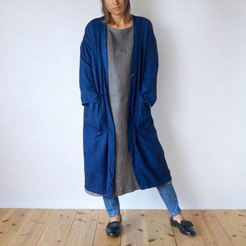 【秋の福袋】あったか肉厚ワンピース(グレー) + 羽織りガウン(ブルー)2点セット