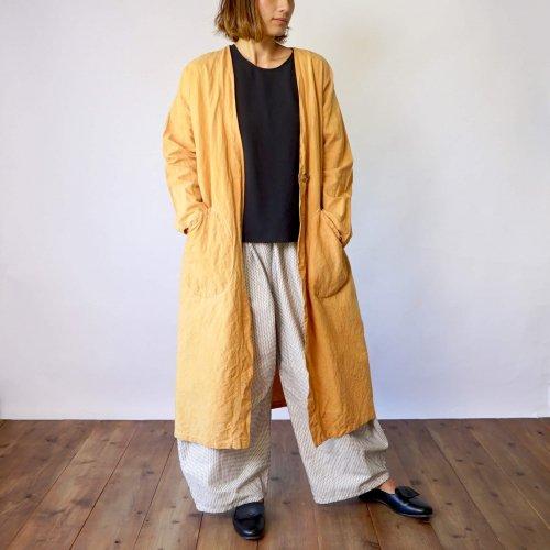 【秋の福袋】コットン羽織りガウン(オレンジ) + バルーンパンツ(一本刺し子生成り )2点セット