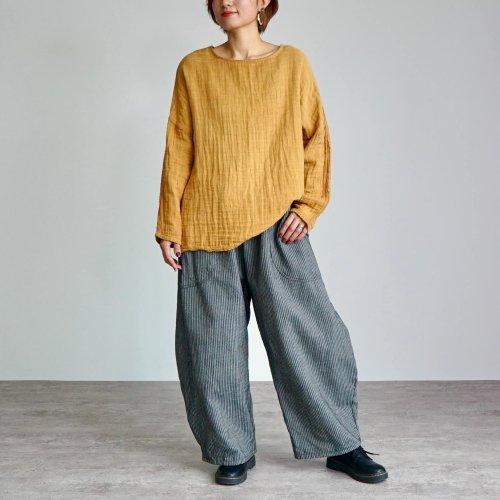 【秋の福袋】ゆったりガーゼロンT/柿渋オレンジ + よろけ縞バルーンパンツ/コーヒーブラウン