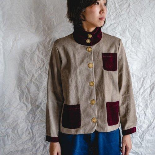 えりがわりブルゾン/グレーベロアレッド/三河木綿 綾織