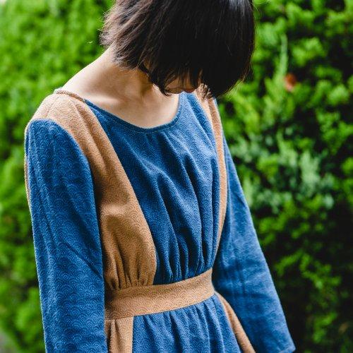 まち娘ワンピース/青海波/三河木綿刺し子織