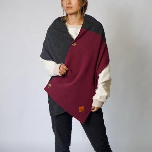 七変化スヌードポンチョ/ワインレッド/三河産ニット