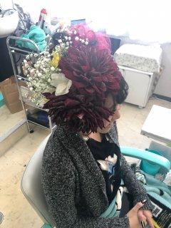 ギャラリー 盛り髪、生花アレンジ_ヘアセット