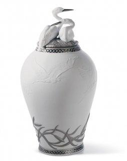 リヤドロ 人形  『サギの王国 花瓶(RE-DECO)  01007052 HERONS' REALM COVERED VASE (RE-DECO)』