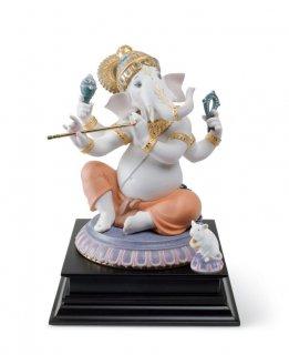 リヤドロ 人形  『バンスりを吹くガネーシャ(限定版)  01007182 BANSURI GANESHA (LIMITED EDITION) 』