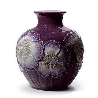 リヤドロ 人形  『花瓶・ポピー(パープル)  01008621 POPPY FLOWERS VASE (PURPLE)』