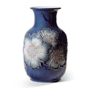 リヤドロ 人形  『花瓶・ポピー(ブルー高)  01008649 POPPY FLOWERS TALL VASE (BLUE)』