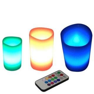 LEDキャンドルライト 12色調光 リモコン付き S・M・L 3個セット (特典)手漉和紙