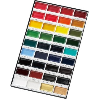 呉竹 顔彩耽美 36色セット(特典)手漉半紙40枚