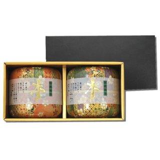 【大感謝祭】なつめ茶缶 上煎茶ギフト 70g×2 (緑*橙)