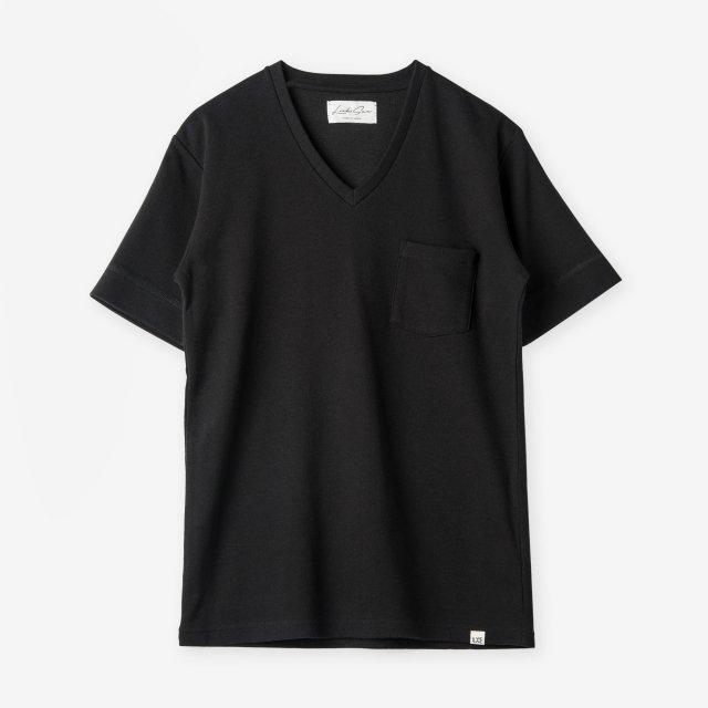 <span>Cotton&Silk V-neck T-shirts / Black</span>コットン&シルク VネックTシャツ / ブラック