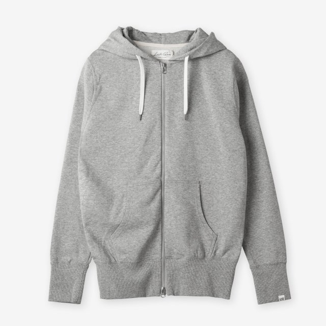 <span>Cotton&Silk Zip-up Sweat Hoody / Grey</span>コットン&シルク ジップアップスウェットパーカー / グレー