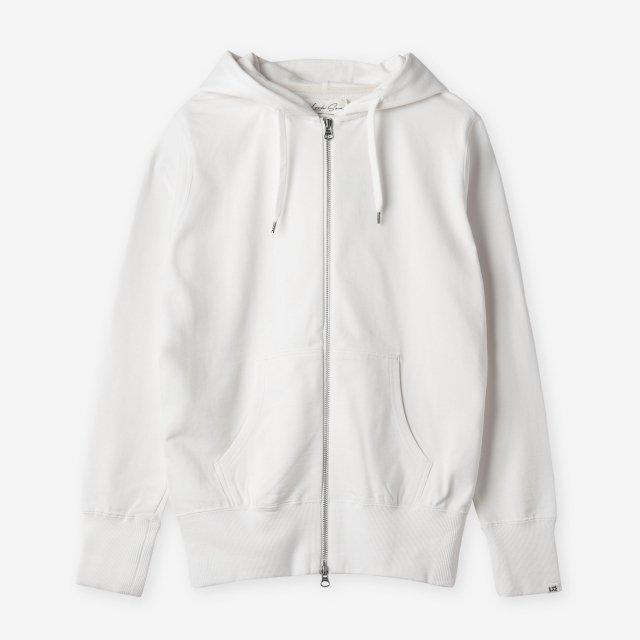 <span>Cotton&Silk Zip-up Sweat Hoody / White</span>コットン&シルク ジップアップスウェットパーカー / ホワイト