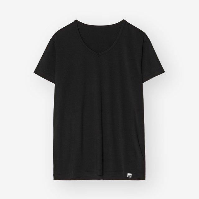 <span>Silk Inner V-neck T-shirts / Black</span>シルク インナーVネックTシャツ / ブラック