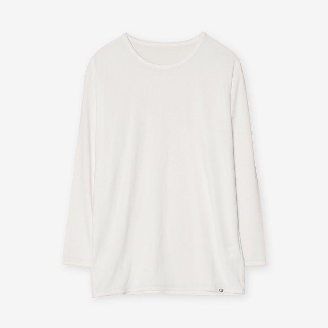 シルク インナークルーネック7分袖Tシャツ / ホワイト