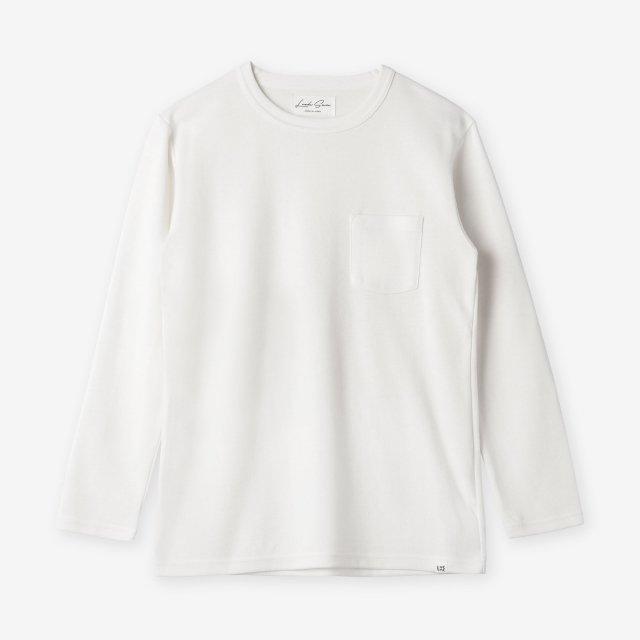 コットン&シルク クルーネック長袖Tシャツ / ホワイト