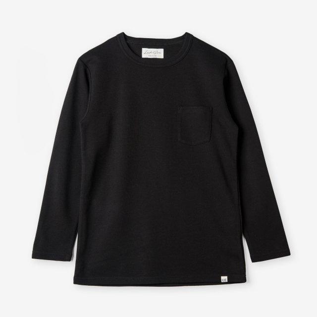 <span>Cotton&Silk Crew-neck Long Sleeve / Black</span>コットン&シルク クルーネック長袖Tシャツ / ブラック