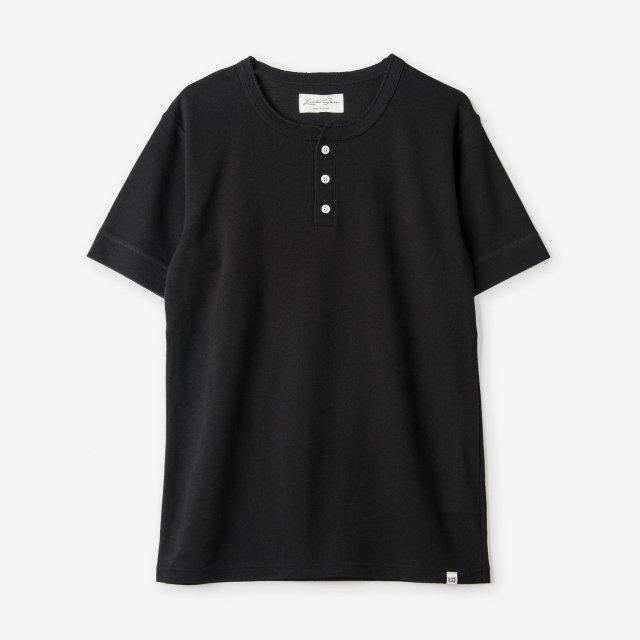 <span>Cotton&Silk Henley-neck T-shirts / Black</span>コットン&シルク ヘンリーネックTシャツ / ブラック
