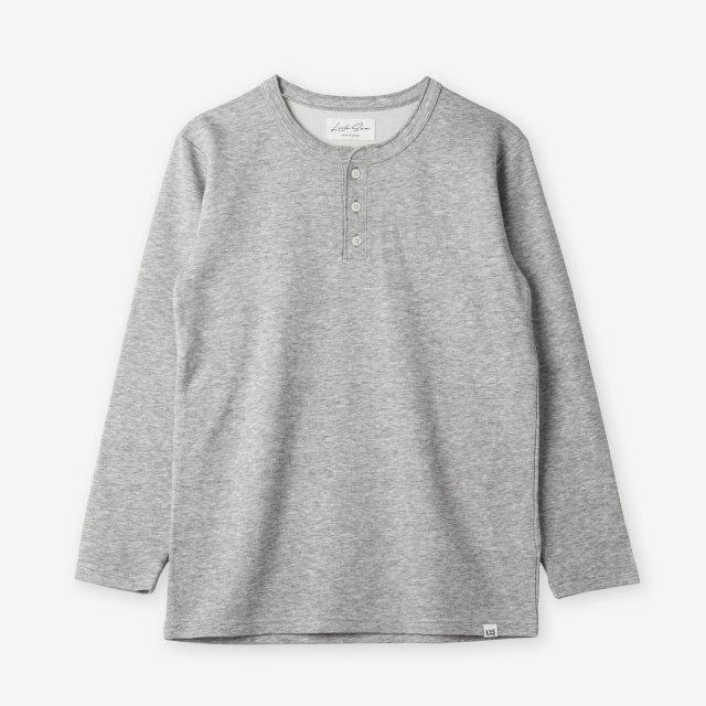 <span>Cotton&Silk Henley-neck Long Sleeve / Grey</span>コットン&シルク ヘンリーネック長袖Tシャツ / グレー