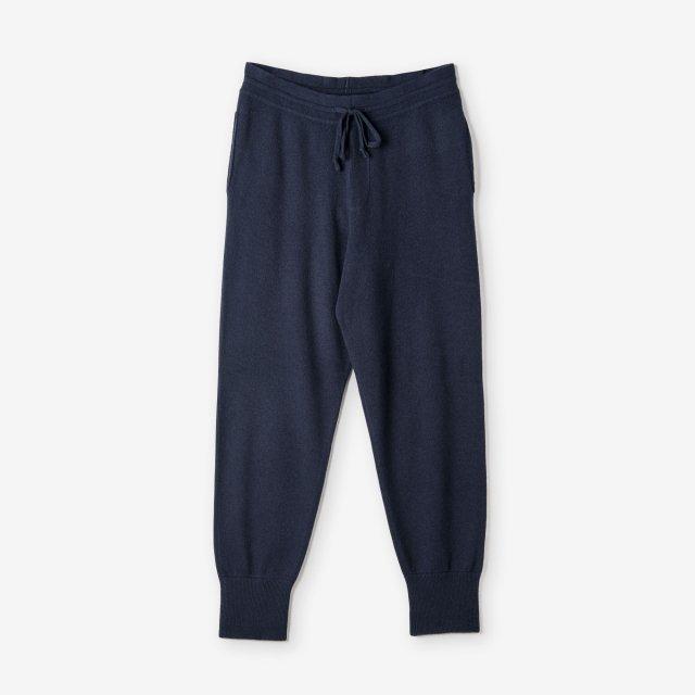 <span>Silk&Cashmere Milano Rib Pants / Navy</span>シルク&カシミア ミラノリブ ニットパンツ / ネイビー