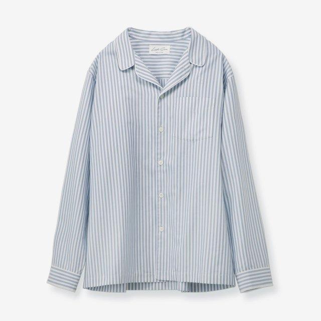 <span>Silk Pajama Shirts / Stripe Sax&White</span>シルク パジャマシャツ / ストライプ サックス&ホワイト