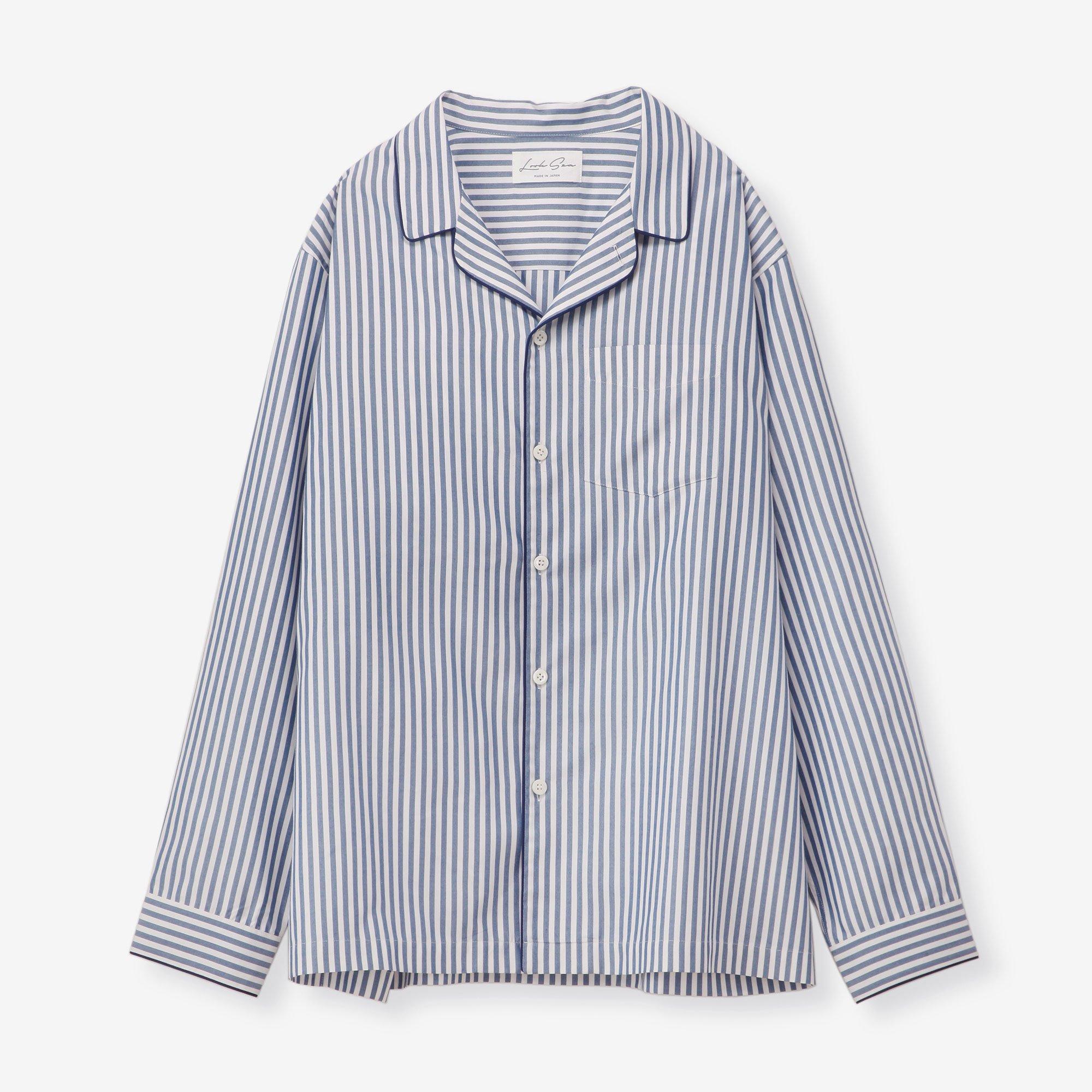 シルク パジャマシャツ / ストライプ ネイビー&ホワイト