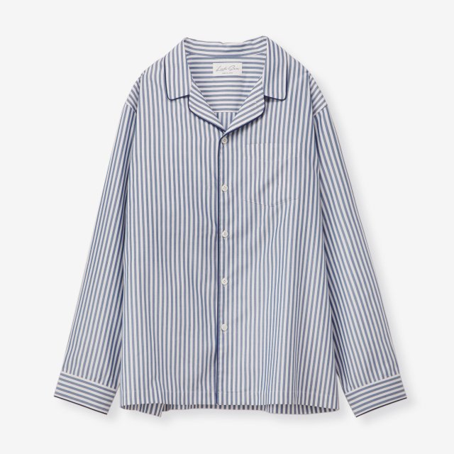 <span>Silk Pajama Shirts / Stripe Navy&White</span>シルク パジャマシャツ / ストライプ ネイビー&ホワイト