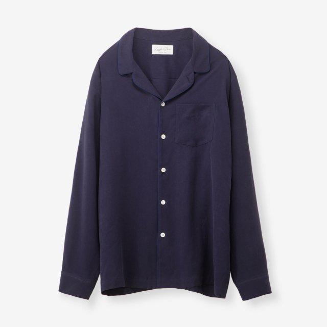 <span>Silk Pajama Shirts / Navy End on End</span>シルク パジャマシャツ / ネイビー無地