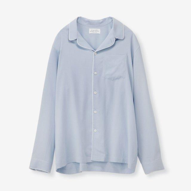 シルク パジャマシャツ / サックス無地