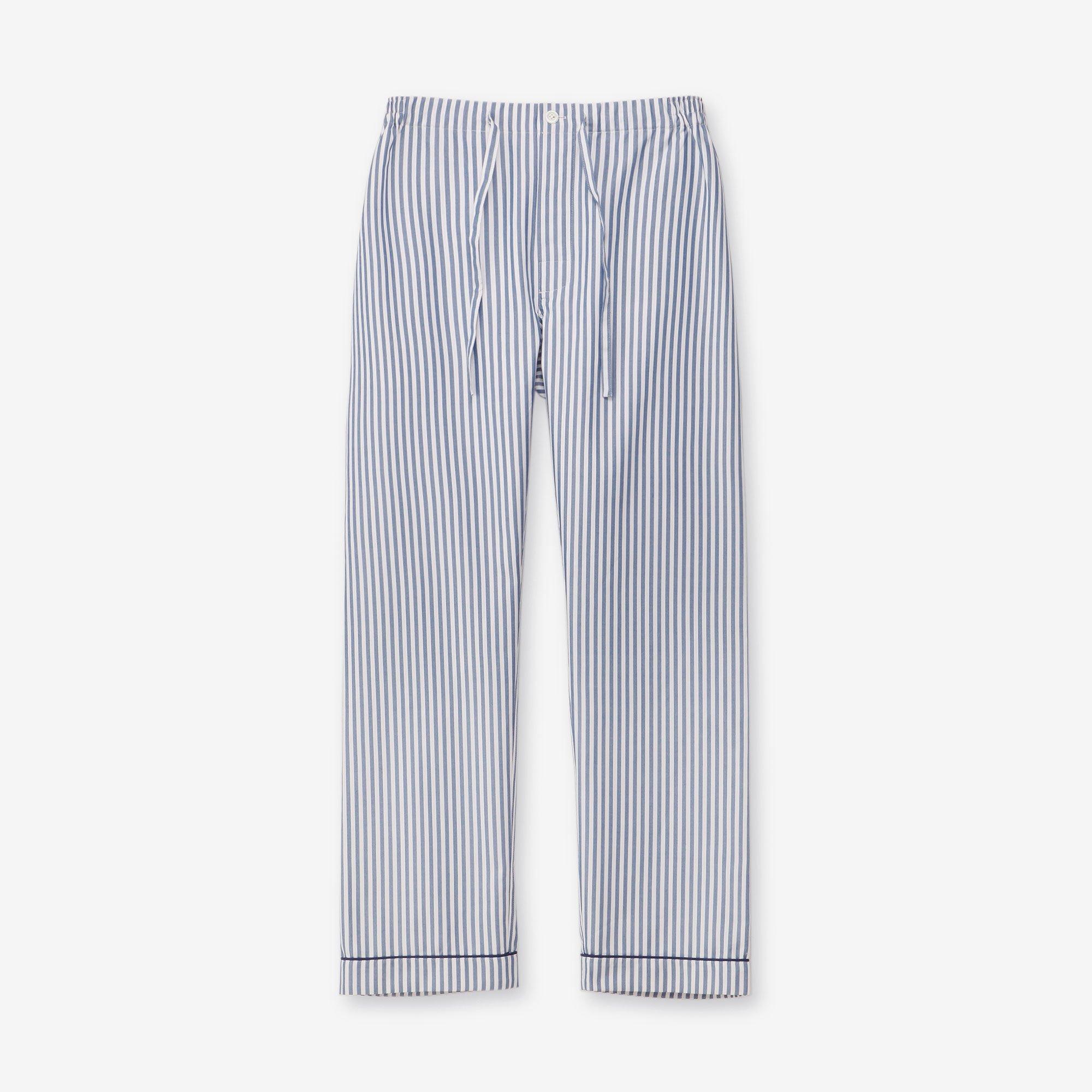 シルク パジャマパンツ / ストライプ ネイビー&ホワイト
