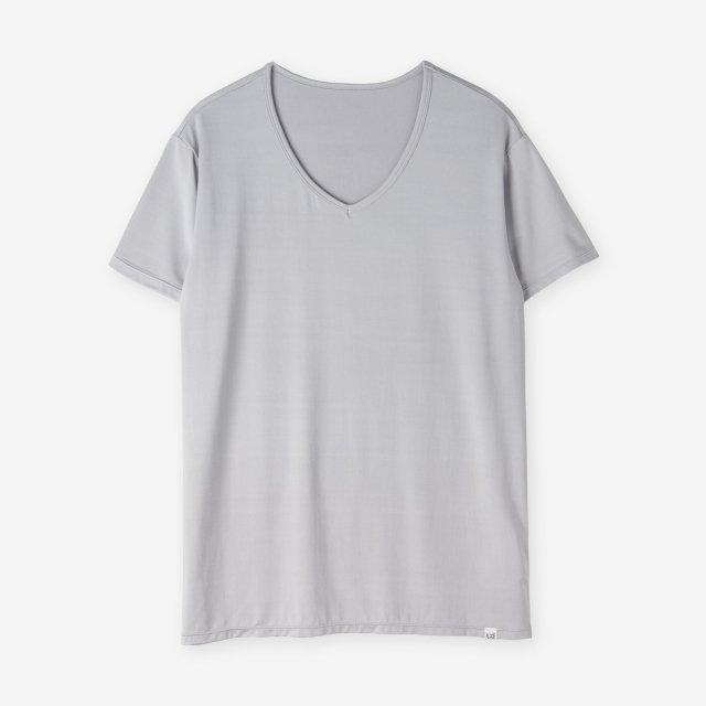 シルク インナーVネックTシャツ / ライトグレー