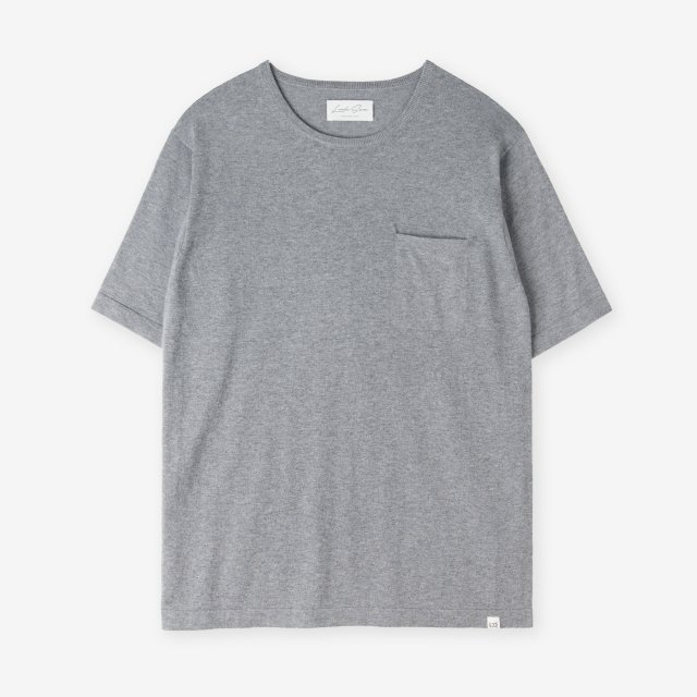 <span>Silk&Cotton&Cashmere Knit T-shirts / Charcoal</span>シルク&コットン&カシミア ニットTシャツ / チャコール