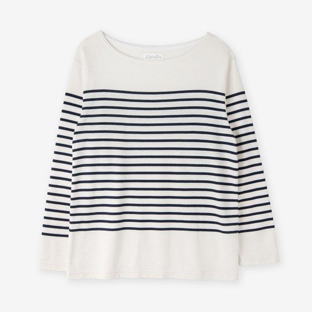<span>Cotton&Silk Panel Border Long Sleeve / Off-White</span>コットン&シルク パネルボーダー 長袖Tシャツ / オフホワイト