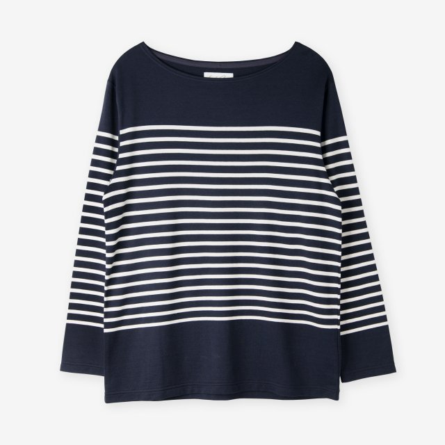 <span>Cotton&Silk Panel Border Long Sleeve / Navy</span>コットン&シルク パネルボーダー 長袖Tシャツ / ネイビー