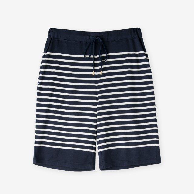 <span>Cotton&Silk Panel Border Pants / Navy</span>コットン&シルク パネルボーダー パンツ / ネイビー