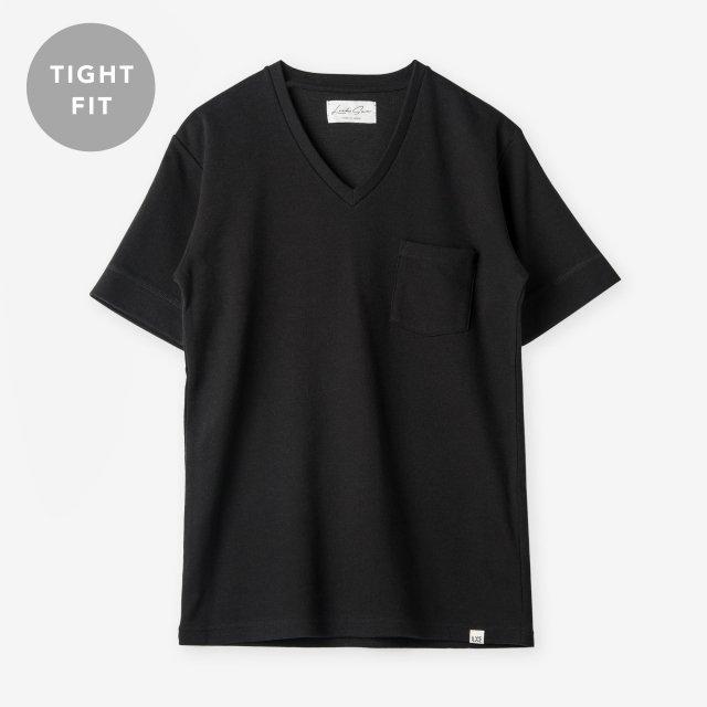 <span>Cotton&Silk V-neck T-shirts / Black</span>【TIGHT FIT】コットン&シルク VネックTシャツ / ブラック