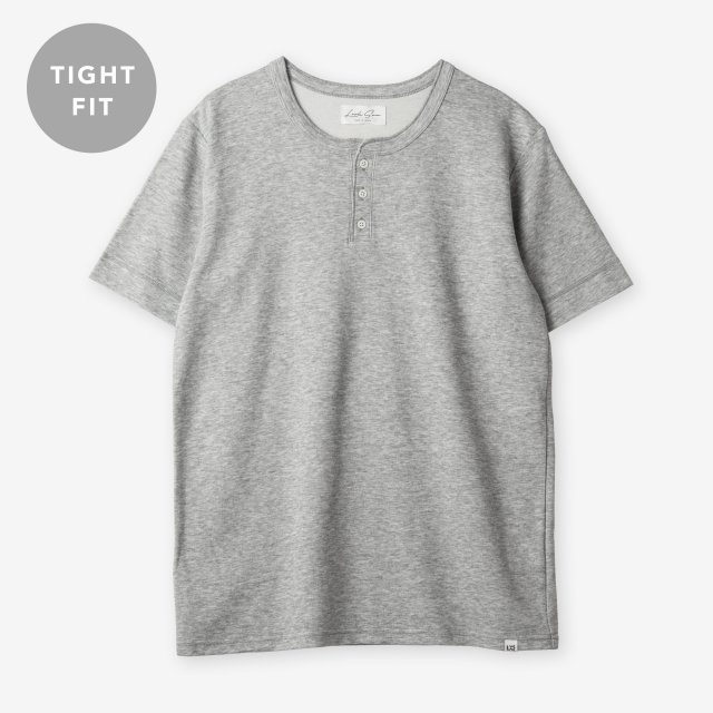 <span>Cotton&Silk Henley-neck T-shirts / Grey</span>【TIGHT FIT】コットン&シルク ヘンリーネックTシャツ / グレー