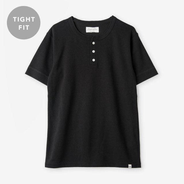 <span>Cotton&Silk Henley-neck T-shirts / Black</span>【TIGHT FIT】コットン&シルク ヘンリーネックTシャツ / ブラック