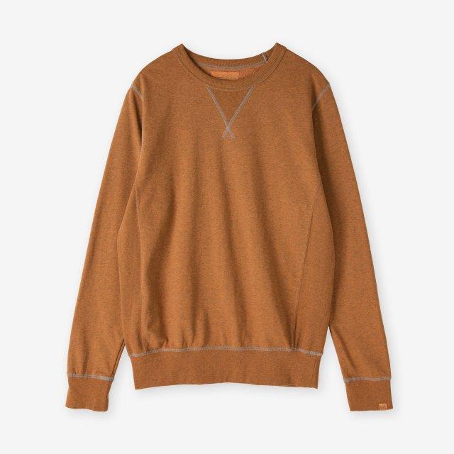 <span>Cotton&Silk Crew-neck Sweat Shirts / Camel</span>【Safari Lounge別注】コットン&シルク クルーネックスウェット / キャメル