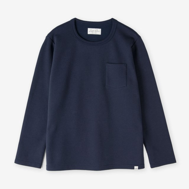 <span>Cotton&Silk Crew-neck Long Sleeve / Navy</span>コットン&シルク クルーネック長袖Tシャツ / ネイビー