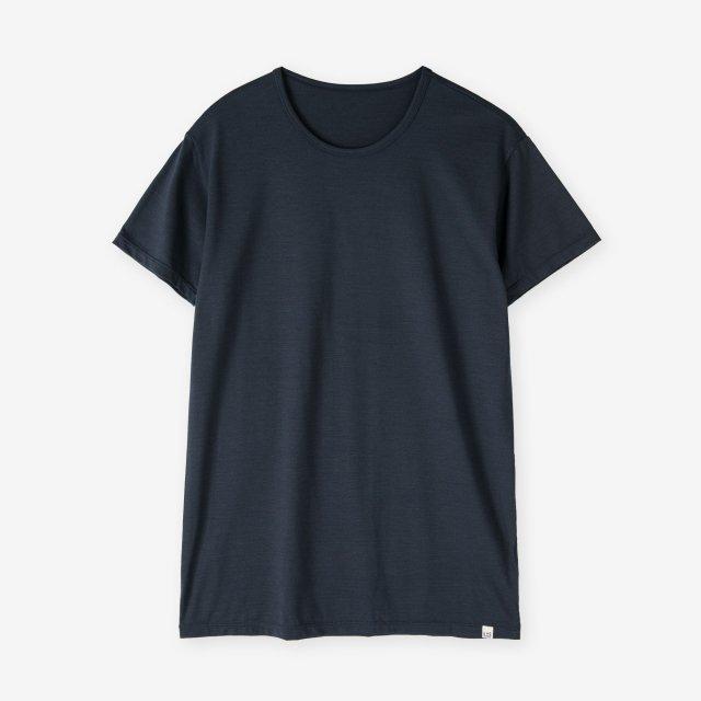 シルク インナークルーネックTシャツ / ネイビー
