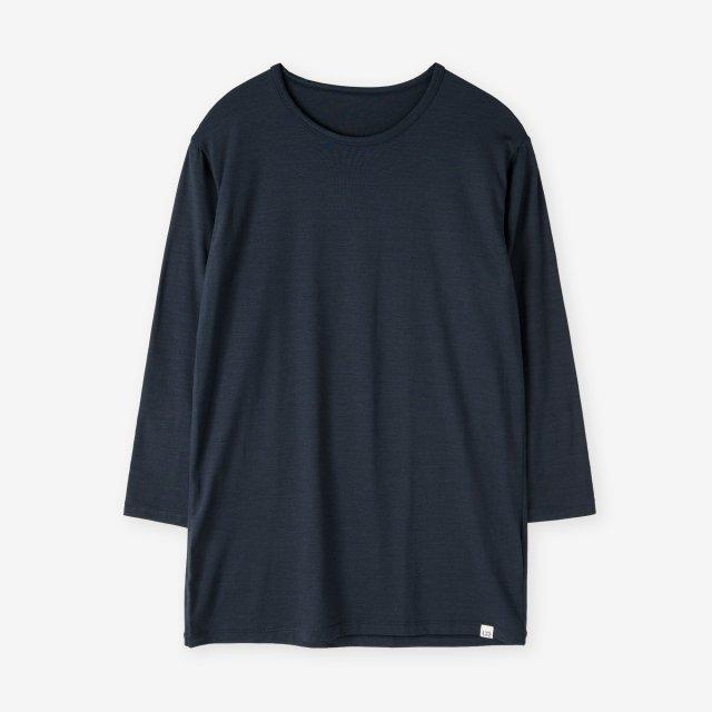 <span>Silk Inner Crew-neck three quarter sleeve / Navy</span>シルク インナークルーネック7分袖Tシャツ / ネイビー